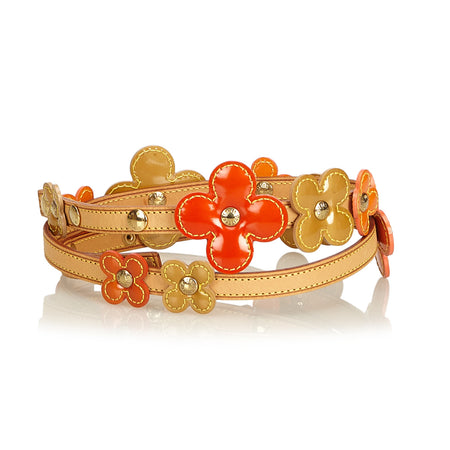 Louis Vuitton Orange and Yellow Vernis Lexington Fleurs Flower Belt