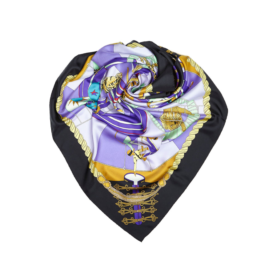 Hermes Circus Black and Purple 90cm Silk Scarf