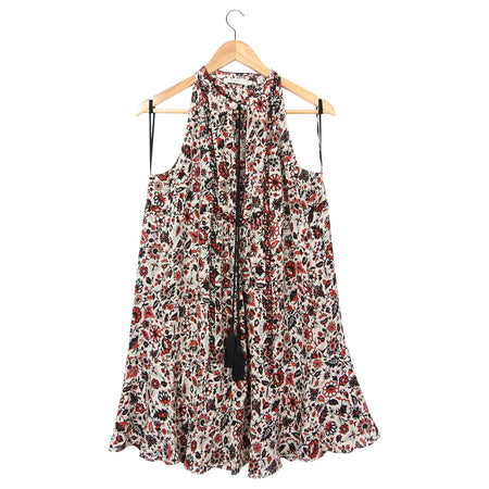 ALC Red White Black Floral Silk Boho Dress - 6
