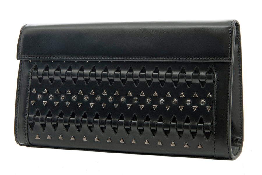 Alaia Black Perforated Leather Studded Small Clutch Bag