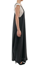 Brunello Cucinelli Grey Long Silk Overalls Maxi Dress