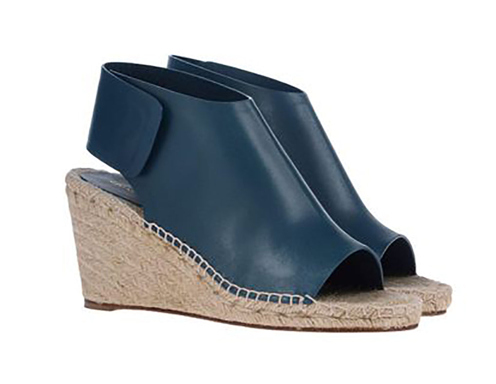 Celine Blue Leather Wedge Espadrille Sandals