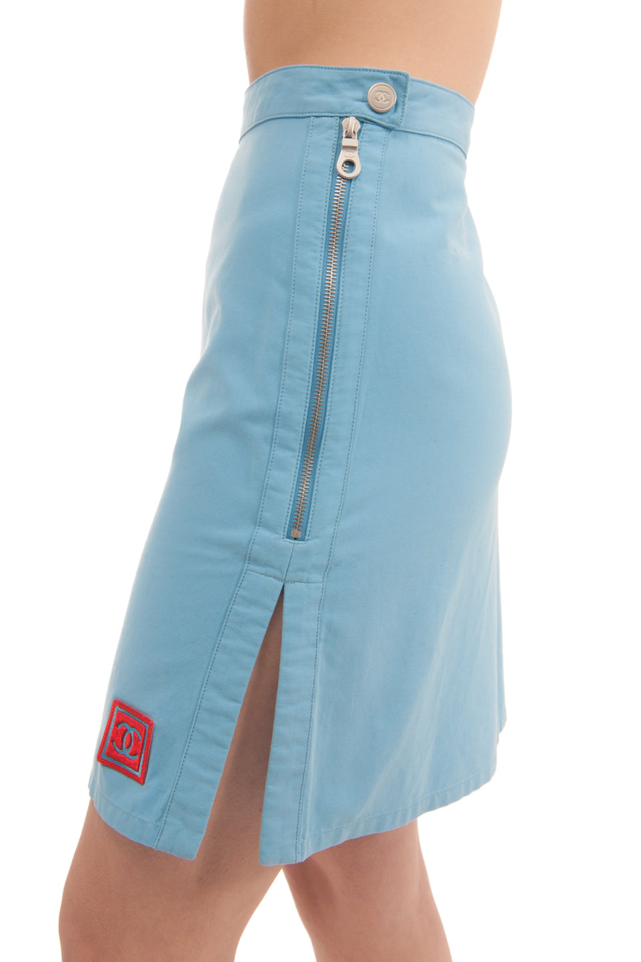 Chanel Identification 2002 Spring Blue A-Line Mini Skirt