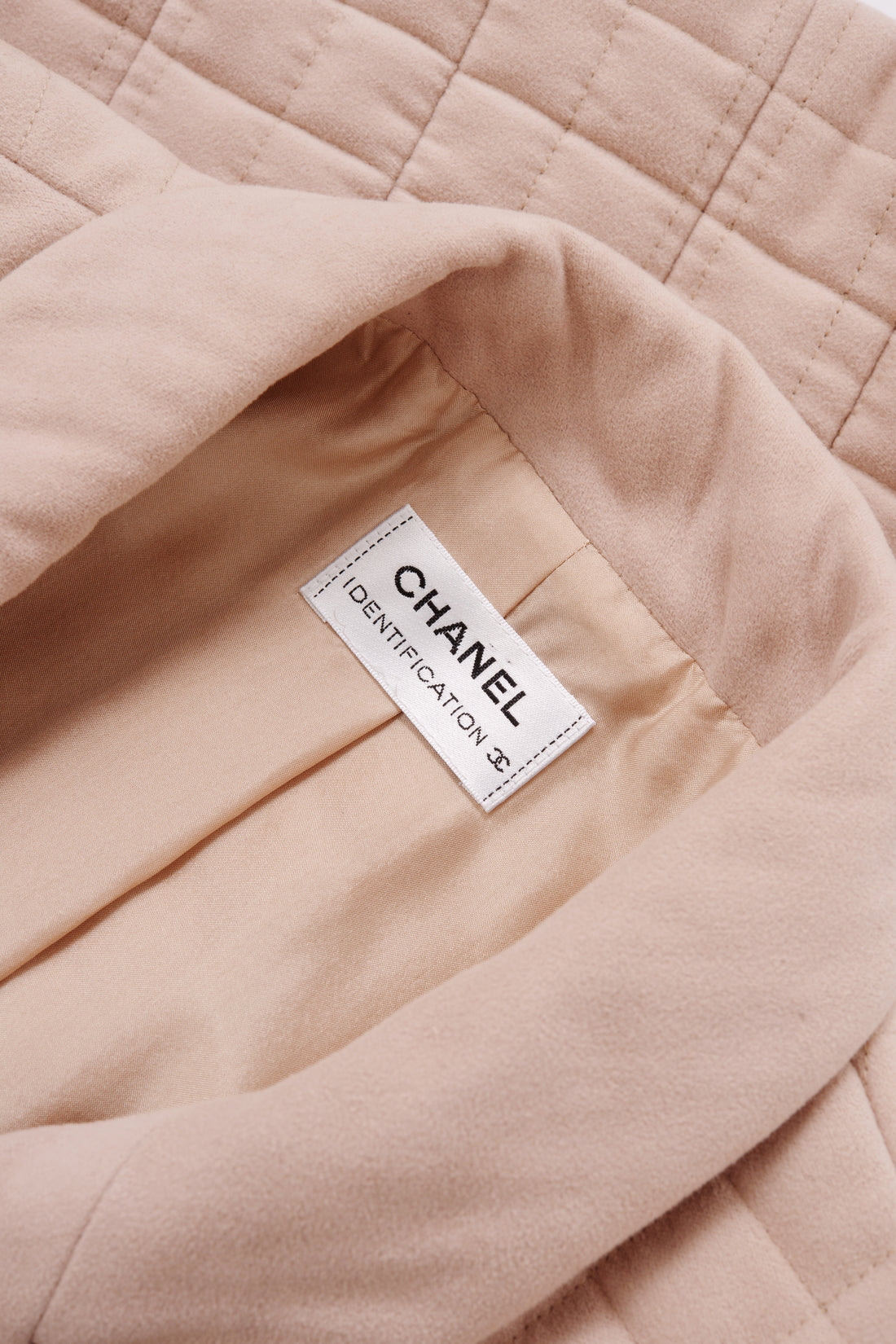 Chanel Identification Beige Quilted Short Sleeve Jacket