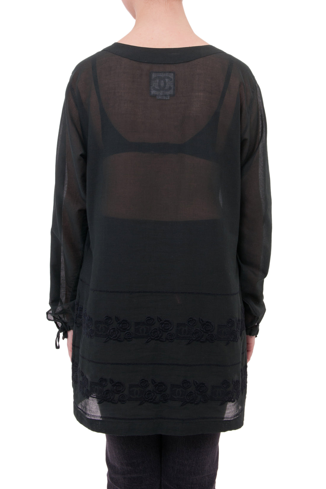 Chanel Sport 07P Sheer Black Embroidered Tunic Top