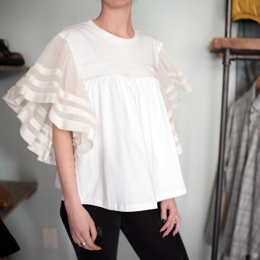 Chloe Spring 2017 White Tee with Ivory Silk Chiffon Ruffle Sleeves