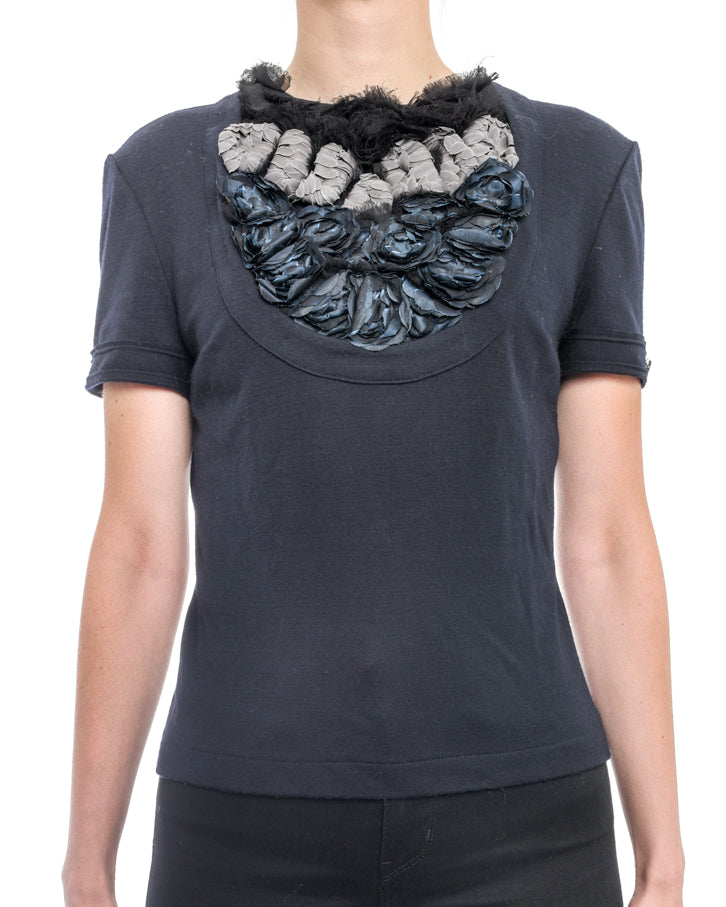 Chanel Pre-Fall 2012 Runway Navy Short Sleeve Top w Rosettes - 38