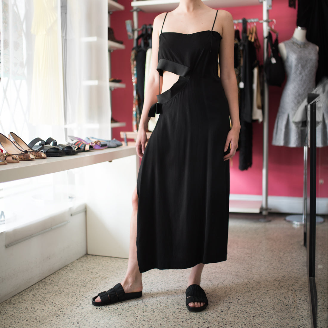 Yohji Yamamoto Black Long Column Dress with Cut out Waist Design