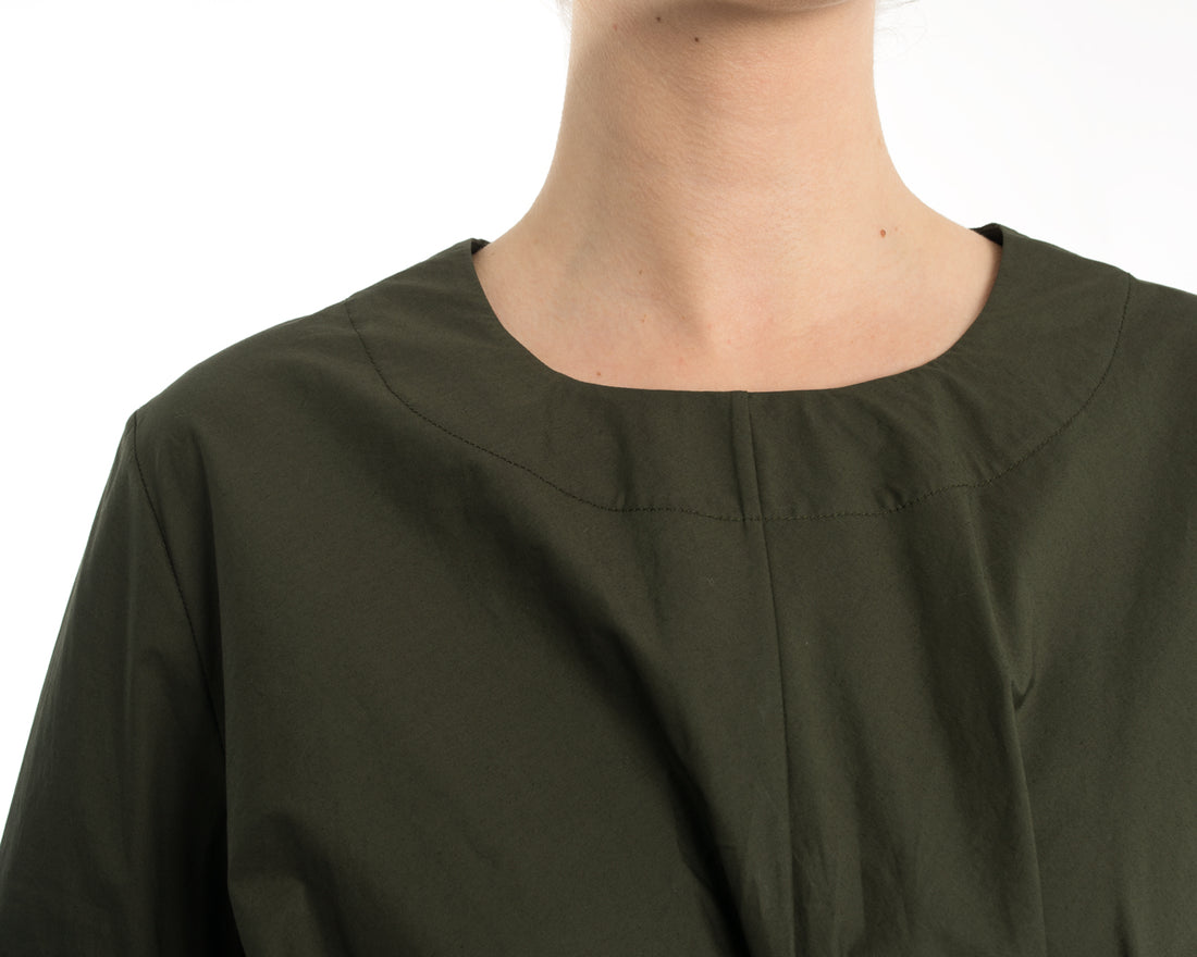 Marni Olive Green Cotton Knotted Dress with Asymetrical Hem - 8