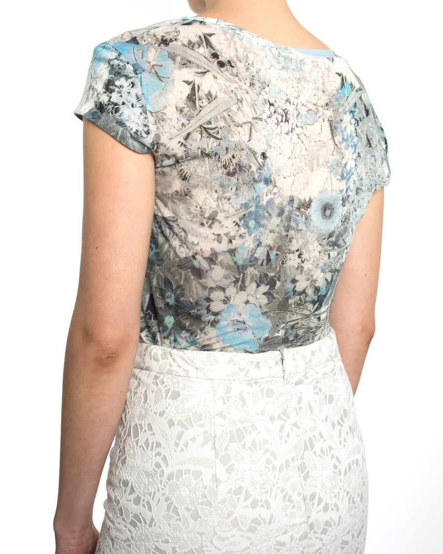 Erdem Pale Blue Lace Pencil Skirt and Silk Floral T-Shirt - S