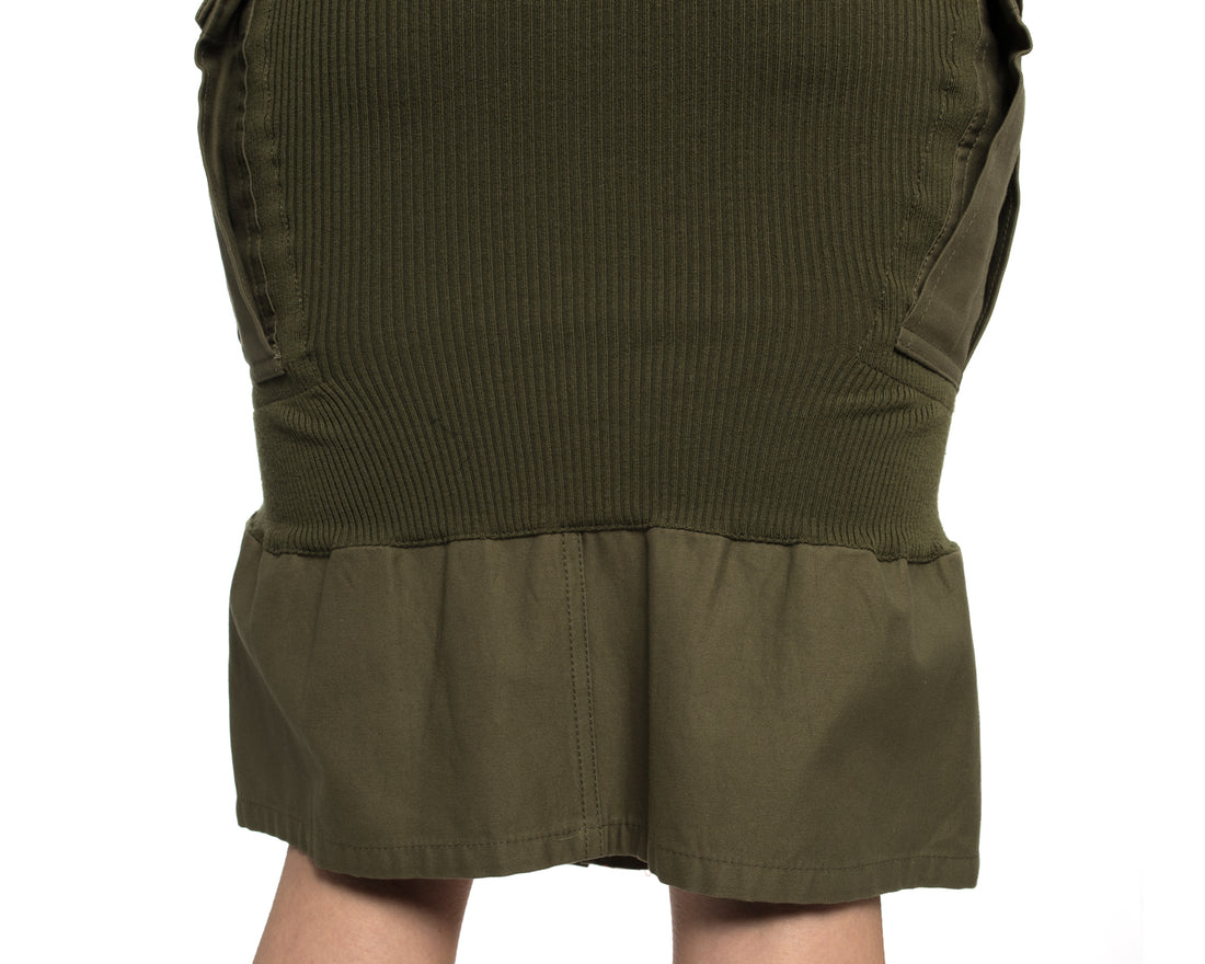 Junya Watanabe Fall 2010 Runway Army Green Slim Skirt with Flounce - 2