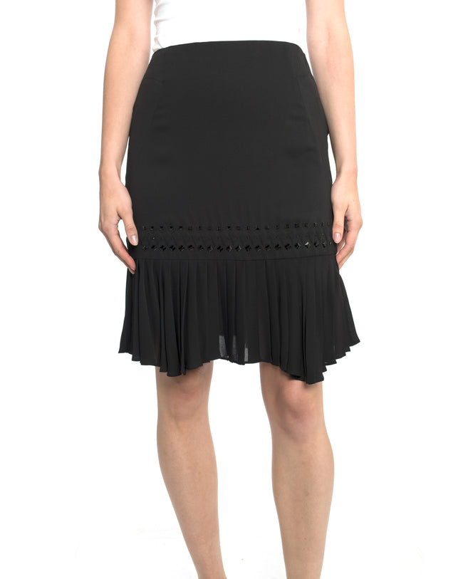 Gucci Black Silk Pleated Skirt with Crystal Bead Detail - 6