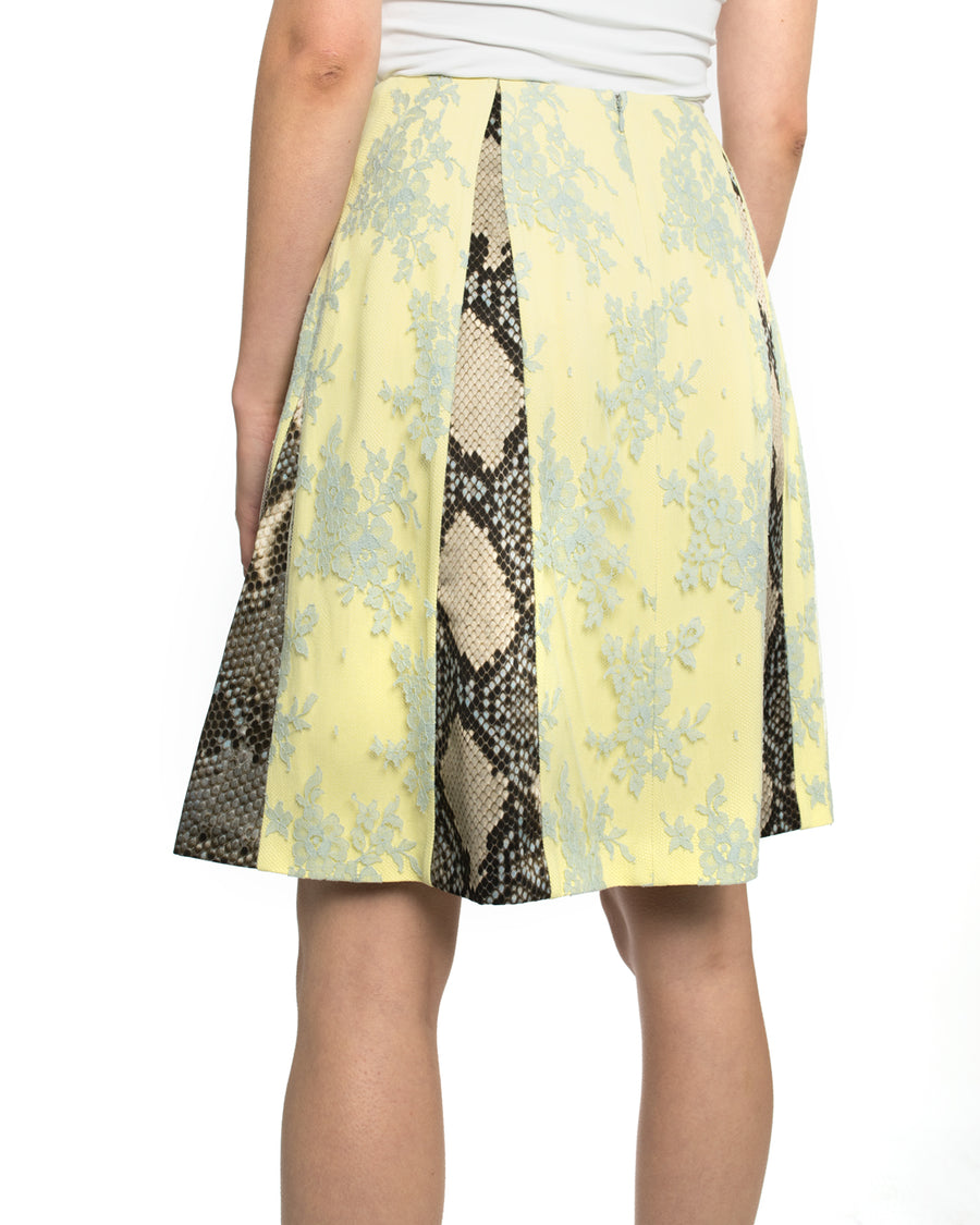 Erdem Spring 2013 Runway Yellow / Blue Lace / Python Pattern Panelled Skirt - 4