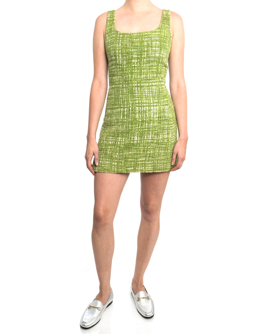 Prada Lime Green Tweed Sleeveless Dress - 6