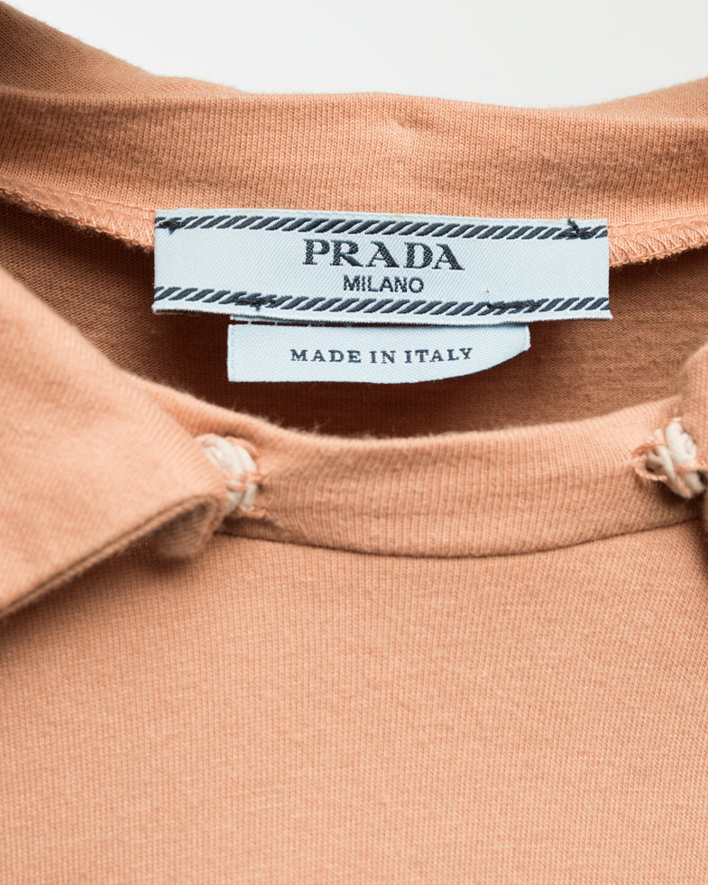 Prada Peach T-Shirt with Lime Green Paillette Snap Collar - M