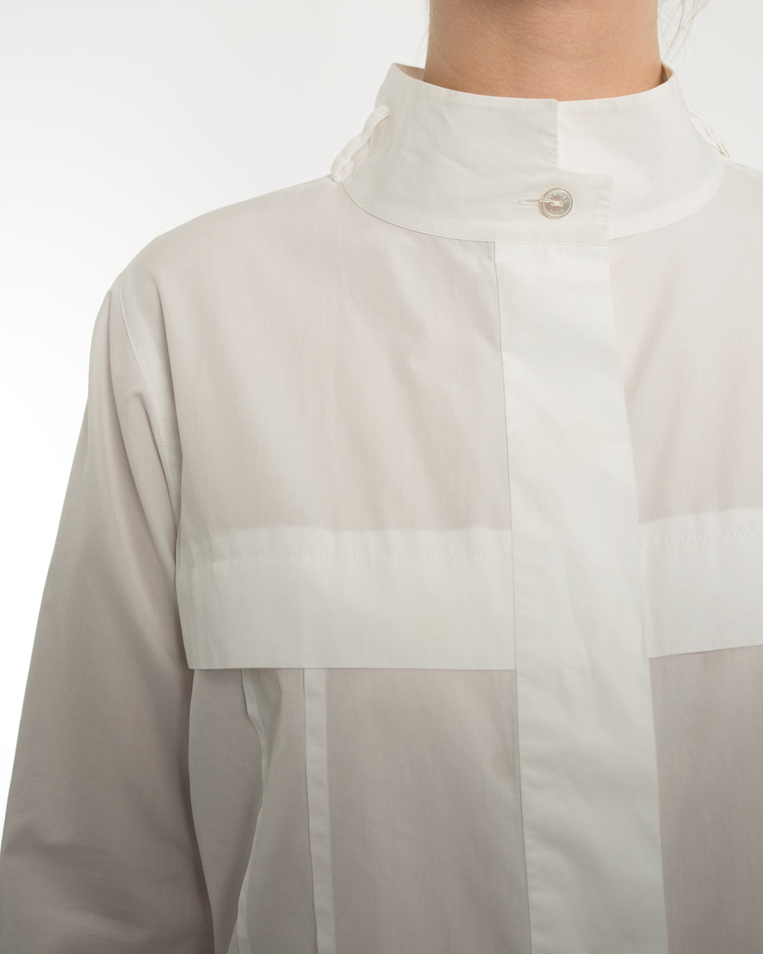 Chanel 08P White Cotton Seamed Button Down Shirt - 8