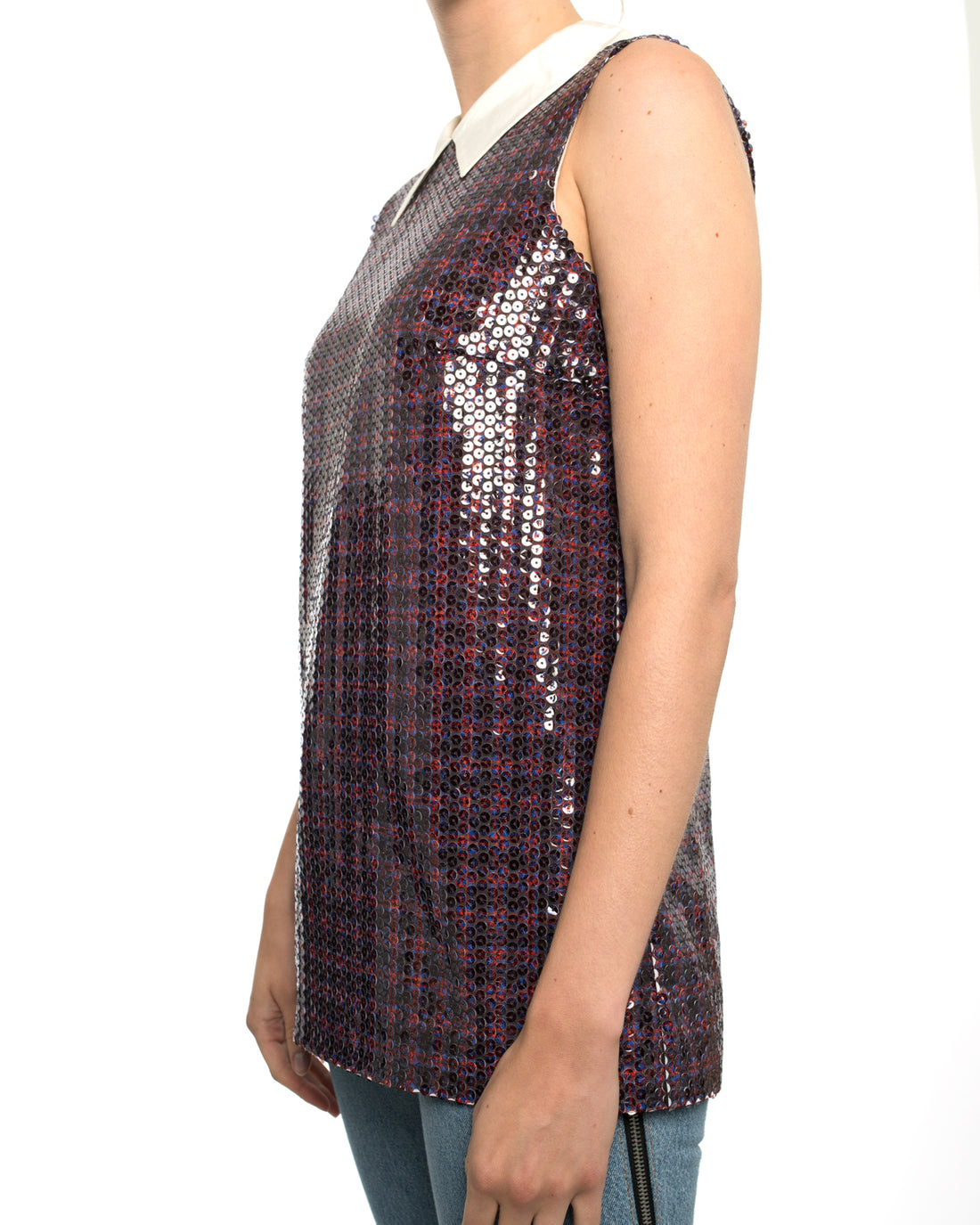 Prada Blue and Red Check Sequin Sleeveless Top with Pointed Collar - 6