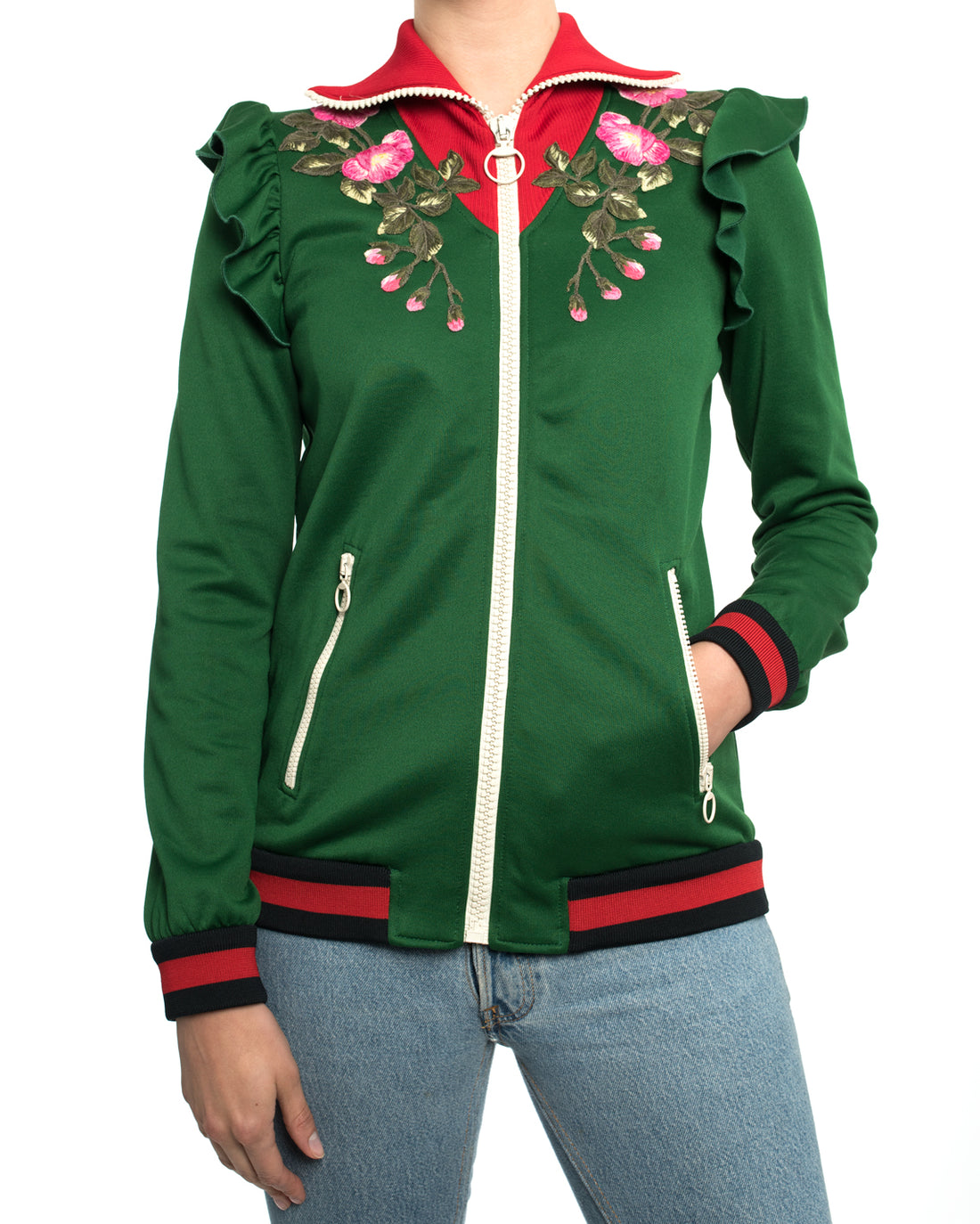 "Gucci Pre-Fall 2017 Green Zip Front ""Hollywood"" Tiger Track Jacket - S"