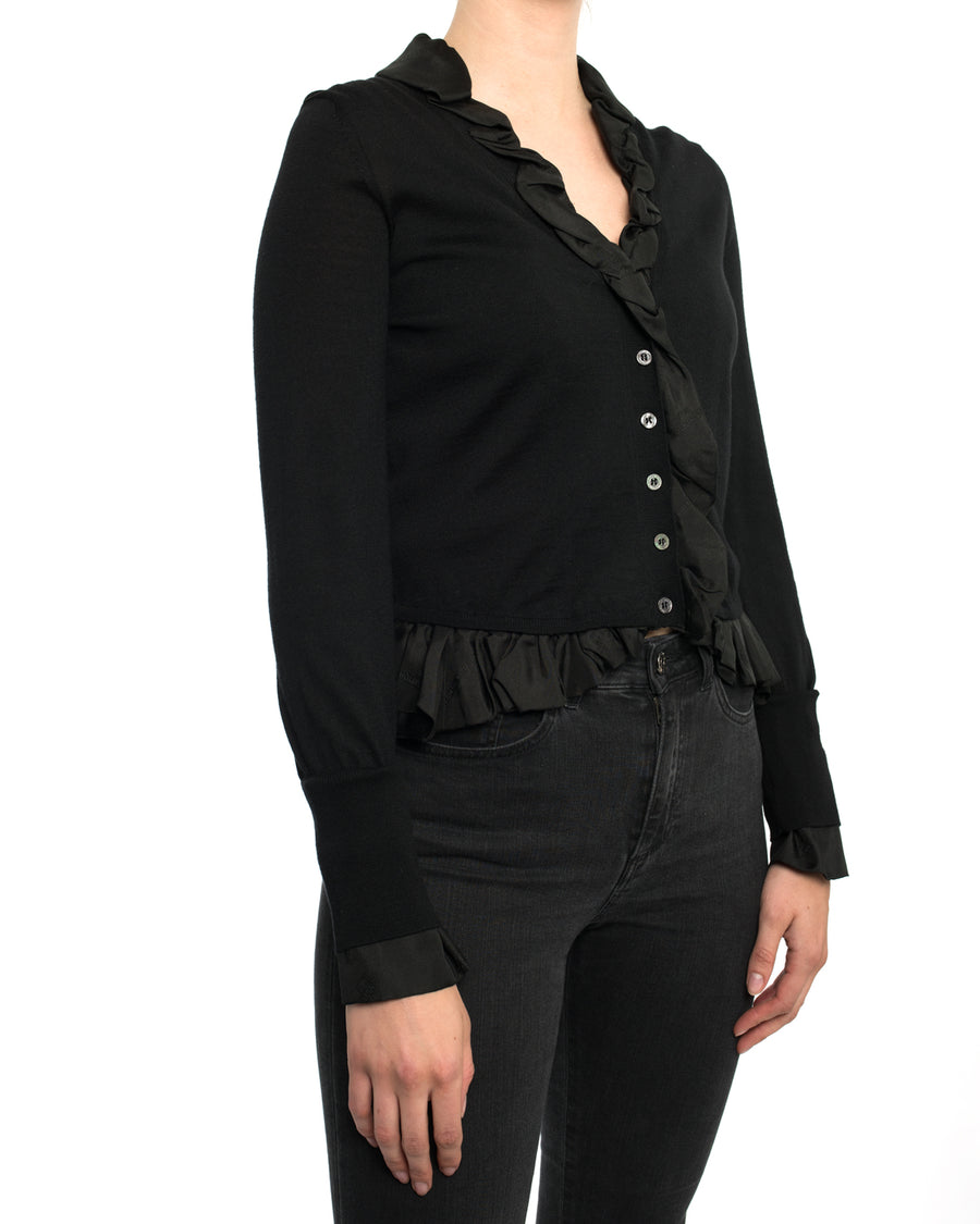 Louis Vuitton Black Wool Cardigan with Silk Jacquard Ruffle Trim - S