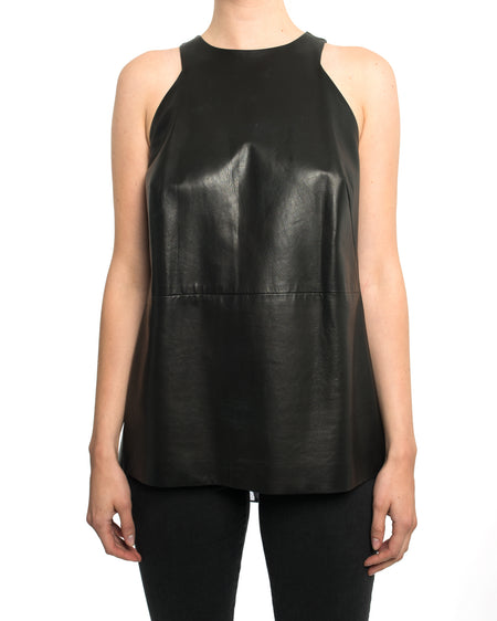 Adam Lippes Black Leather Sleeveless Top with Silk Pleat Inset - 4