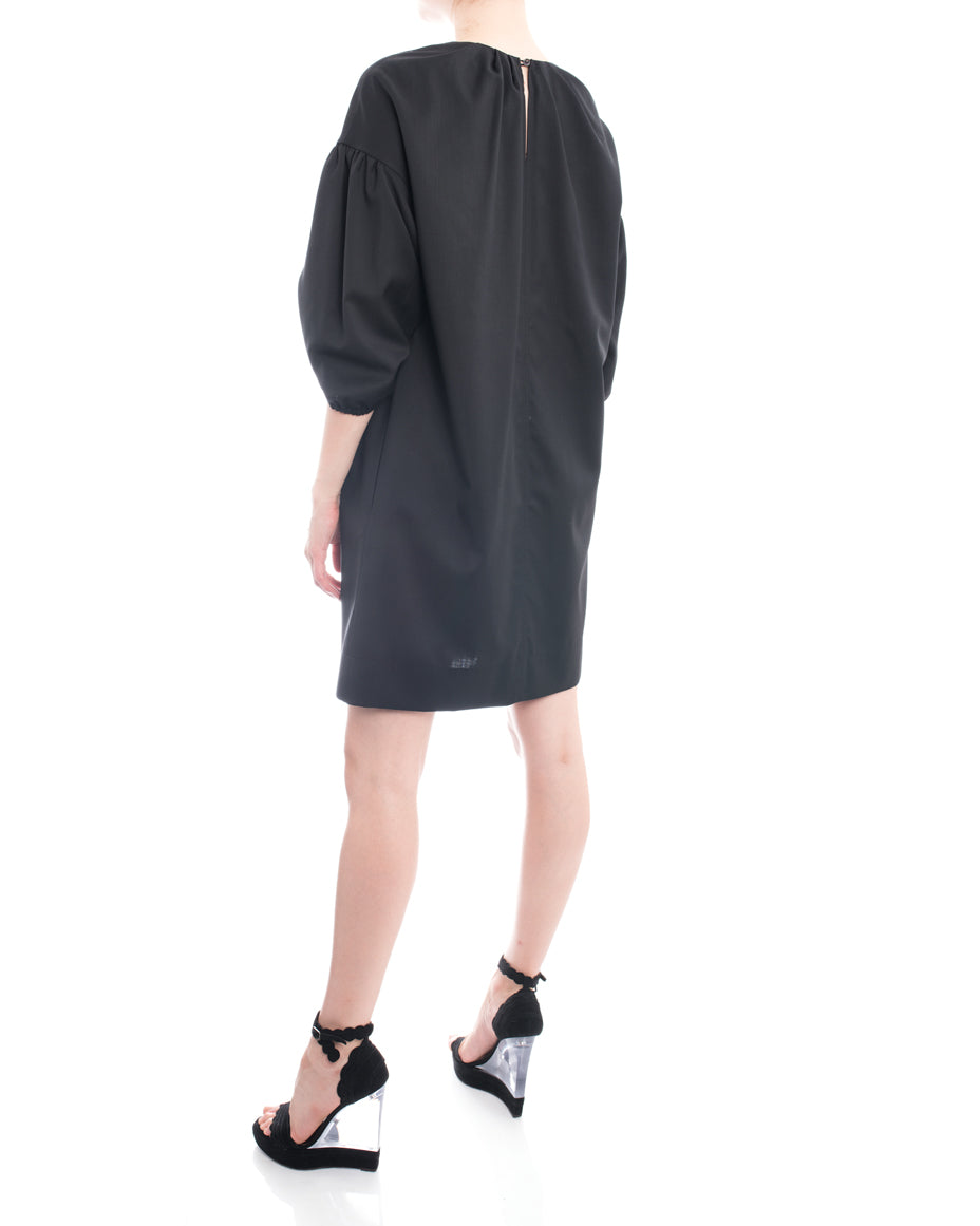NO. 21 Black Smock Dress with Ruched Sleeves - M