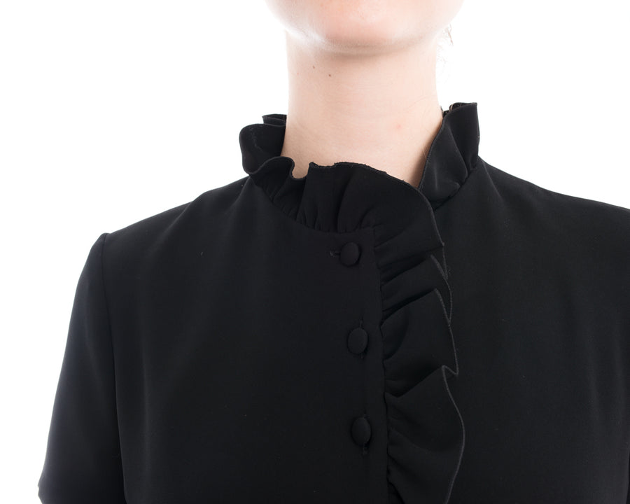 Lanvin Black 1960's Style Dress with Ruffle Neck - 6