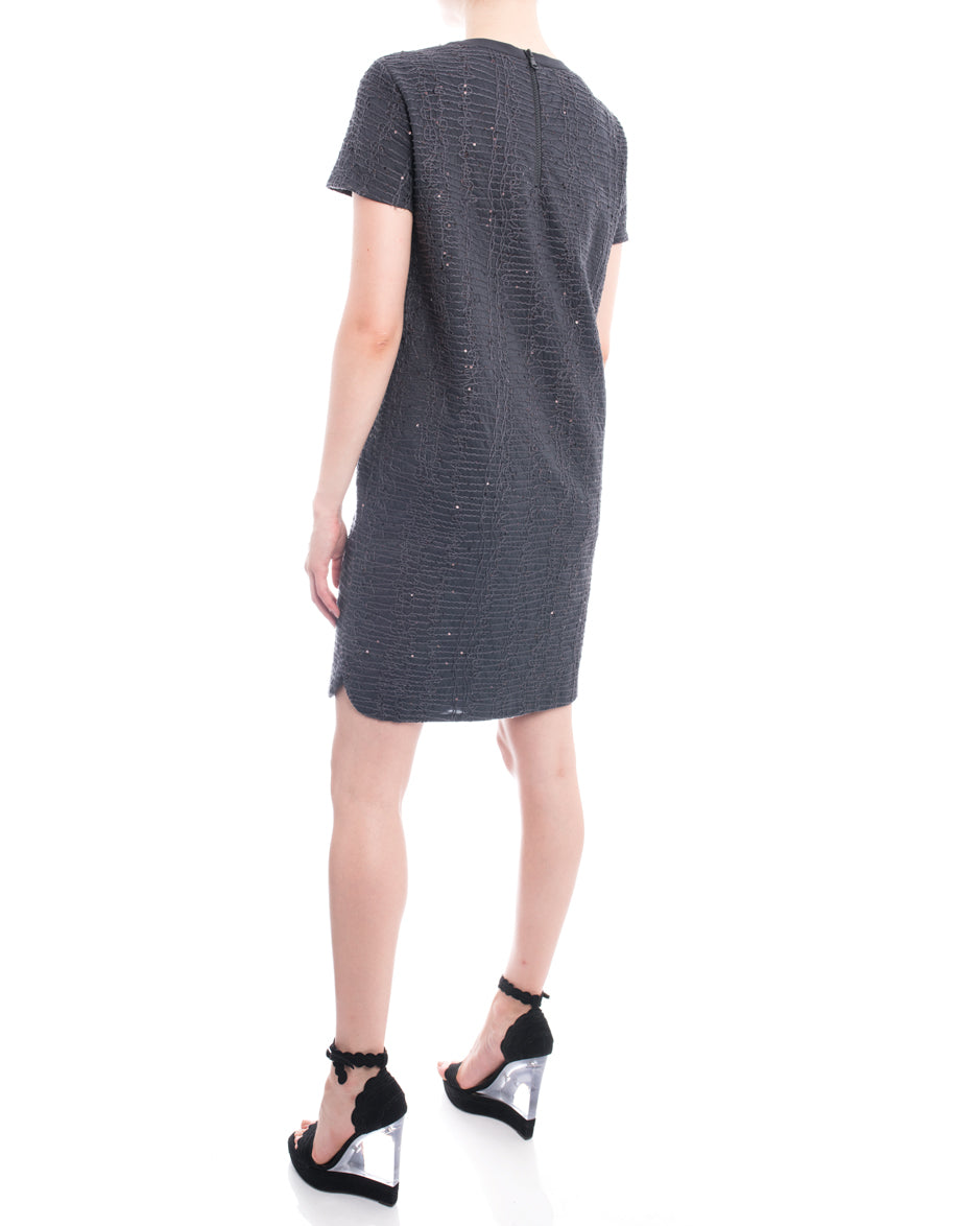 Brunello Cucinelli Grey Shift Dress with Soutache and Sequins - 6