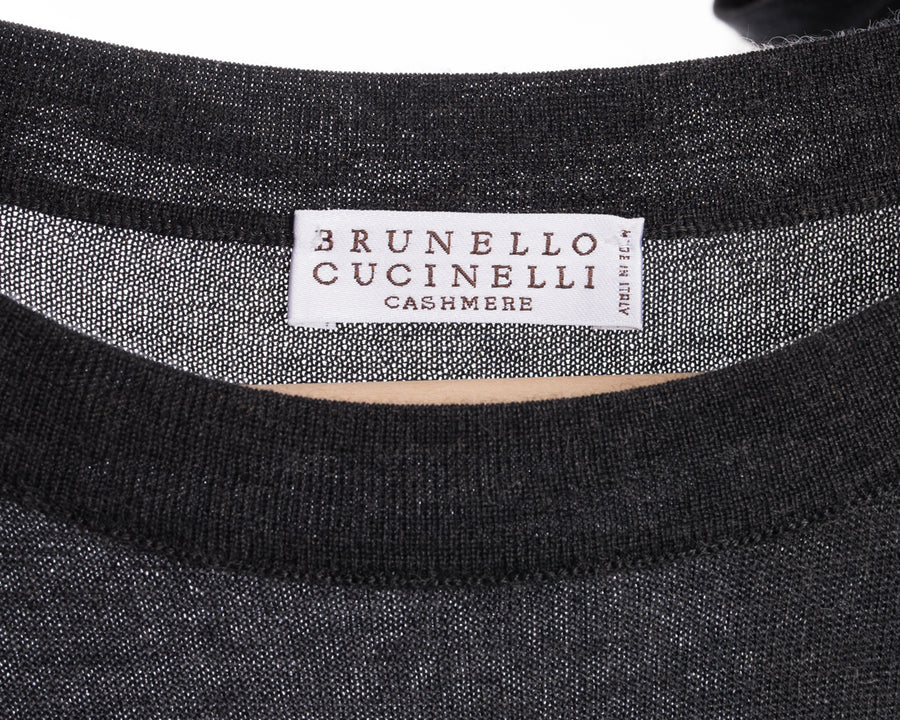 Brunello Cucinelli Long Grey Sleeveless Knit Cashmere Belted Dress - M