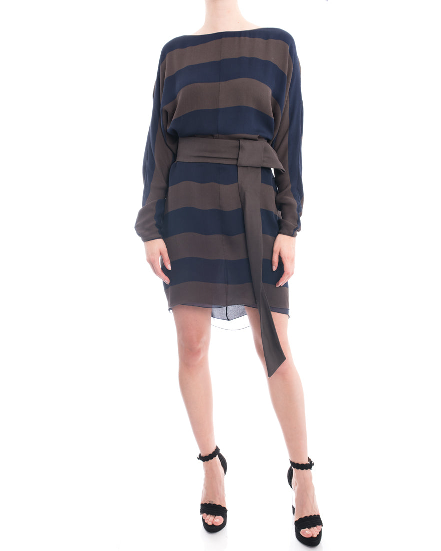 Stella McCartney Blue and Brown Striped Dress with Belt - 10
