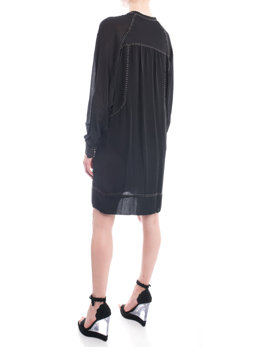 Isabel Marant Black Silk Boho Ruffle Dress with Silver Studs - 6