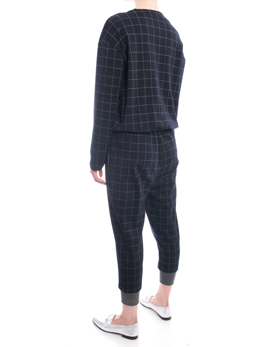 Brunello Cucinelli Navy Wool Check Jumpsuit with Grey Cuffs - M