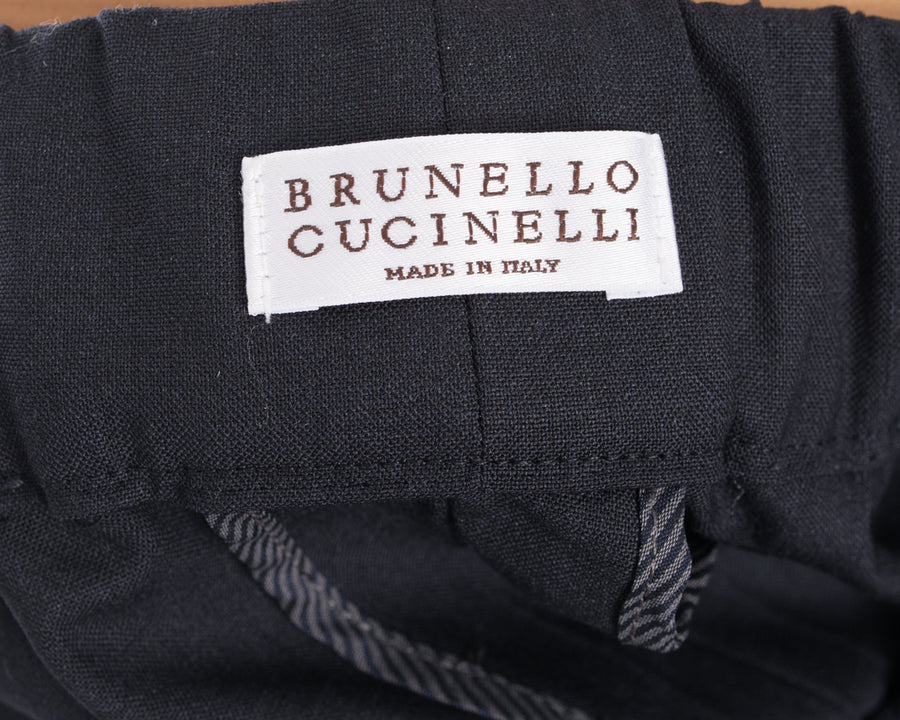 Brunello Cucinelli Charcoal Drawstring Trousers with Silver Chain Detail  - 6