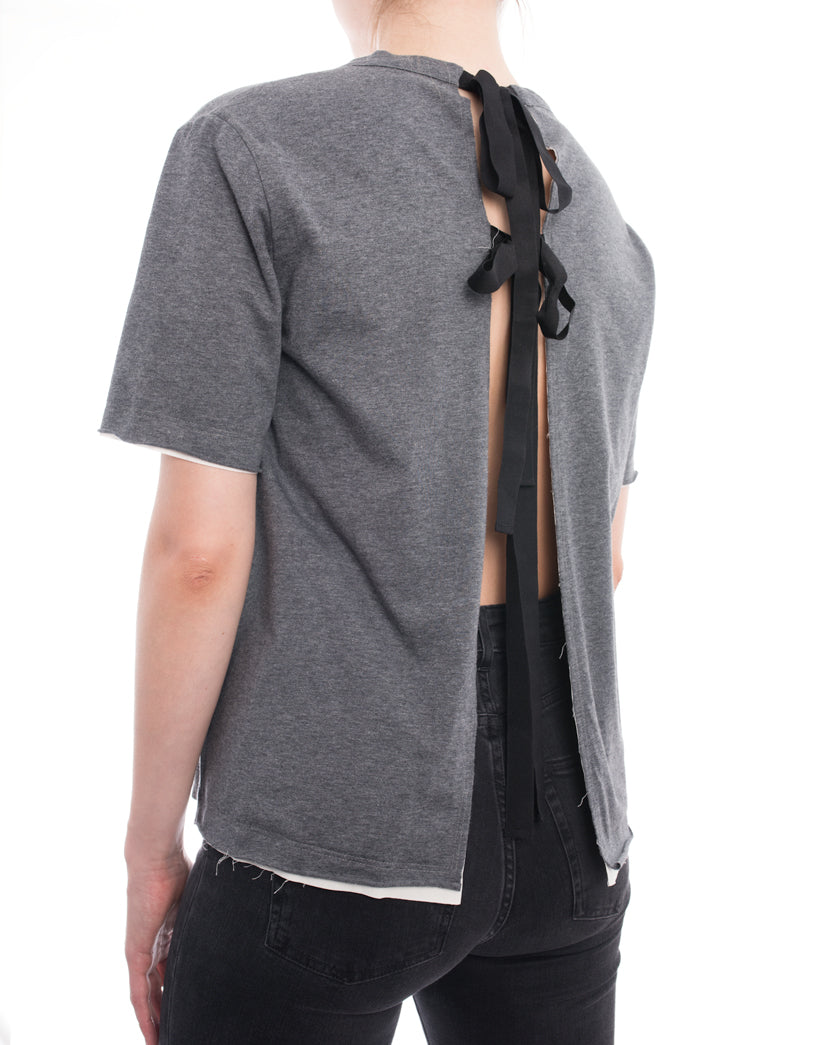 Marni Minimal Grey T Shirt with Open Back and Ties - 6