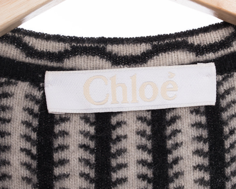 Chloe Pre-Fall 2015 Black Navy White Wool Toggle Sweater - 6