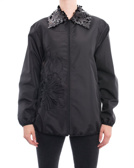 No. 21 Black Zip Jacket with Sequin Collar and Laser Cut Leaf Detail - M