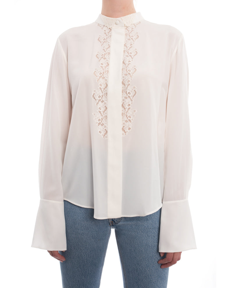 01b8affcd Chloe Milk White Silk Blouse with Lace Inset - M – I MISS YOU VINTAGE