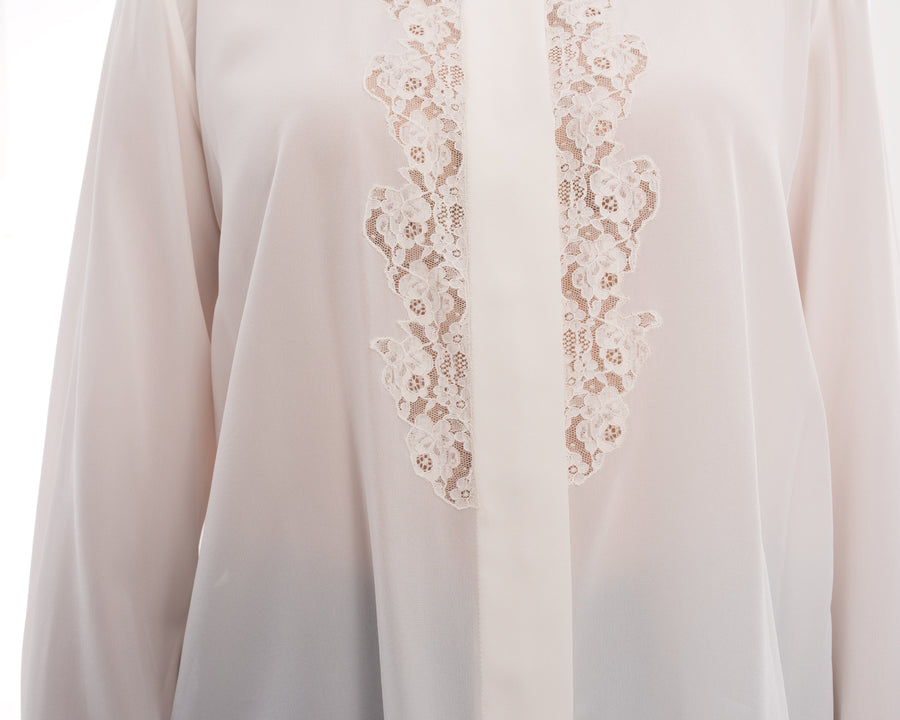 Chloe Milk White Silk Blouse with Lace Inset - M