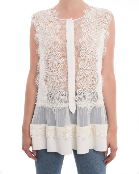 Alberta Ferretti White Sleeveless Blouse with Guipure Lace Applique - 8