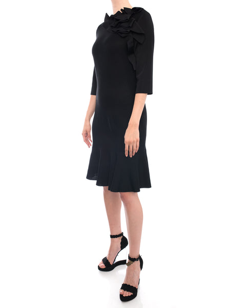 Lanvin Black Pointelle Knit Ruffle Dress with Flared Hem - 8