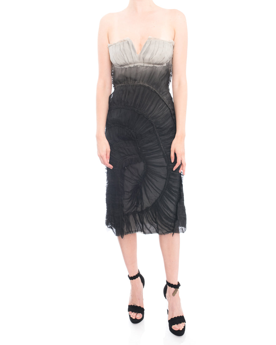 Alberta Ferretti Grey Ombre Sheer Silk Chiffon Strapless Dress - 6