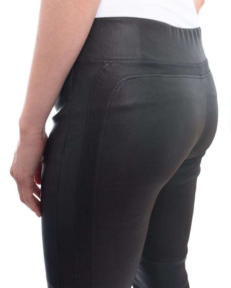 Brunello Cucinello Charcoal Grey Stretch Lambskin Leggings - 6
