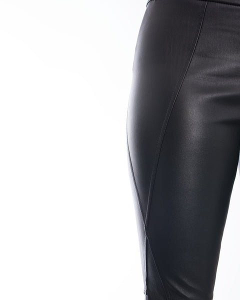 Brunello Cucinelli Black Stretch Lambskin Leggings - 6