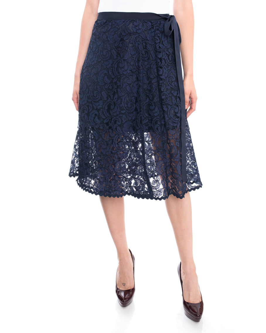 Sacai Luck Blue Lace Wrap Skirt - 6