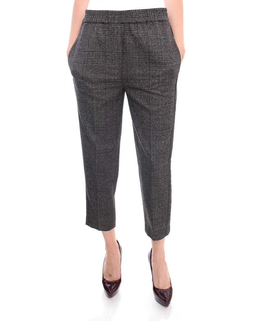 Brunello Cucinelli Dark Brown Wool Check Trousers with Bead Trim - 6