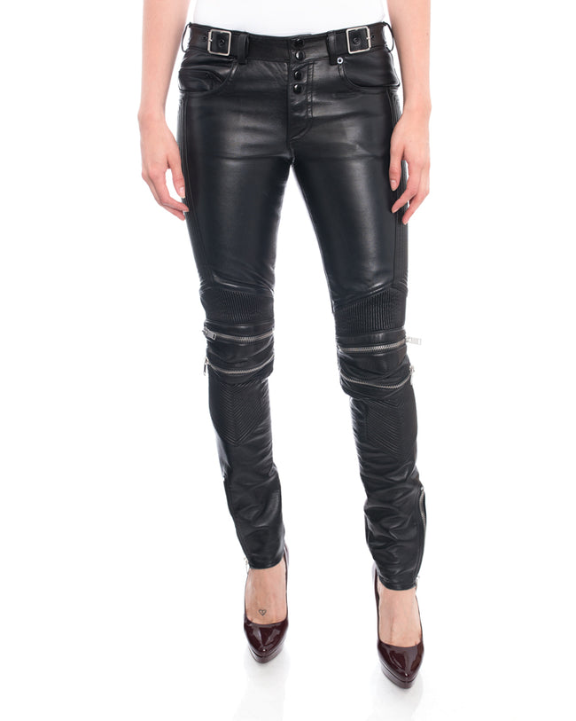 Saint Laurent Unisex Black Leather Zipper Motorcycle Jeans Pants - 38