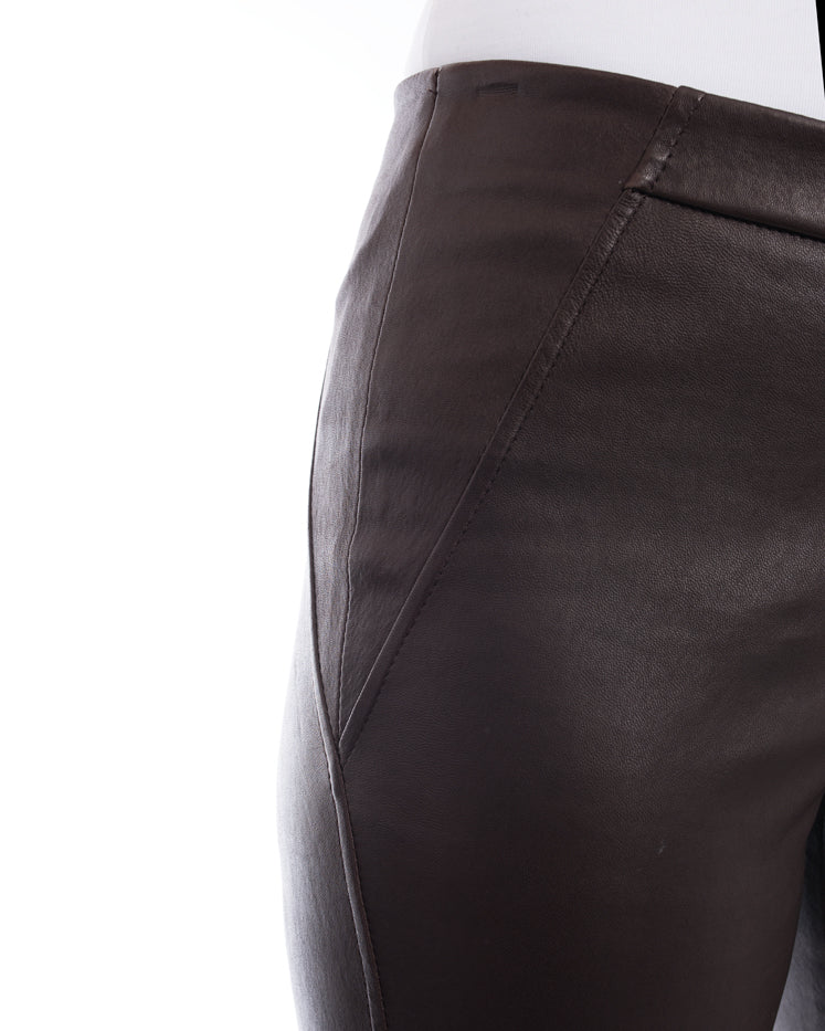 Brunello Cucinelli Brown Stretch Lambskin Leather Leggings - 6