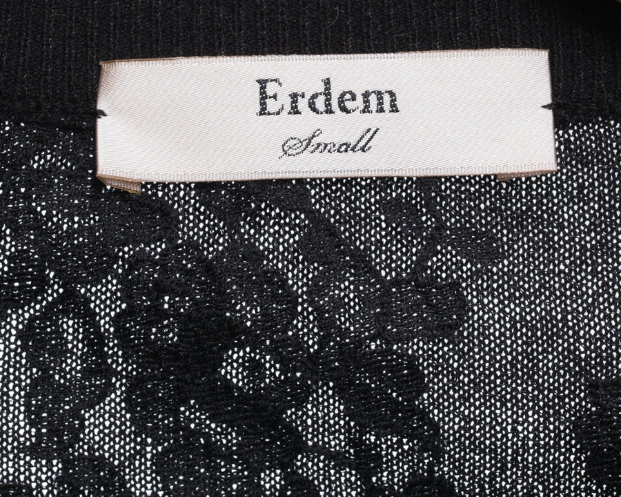 Erdem Tita Black Wool Knit Pullover with Sheer Lace Inset - S