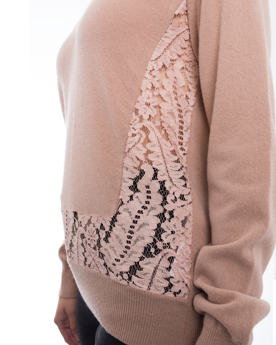 No. 21 Nude Wool V Neck Sweater with Lace Inset - M