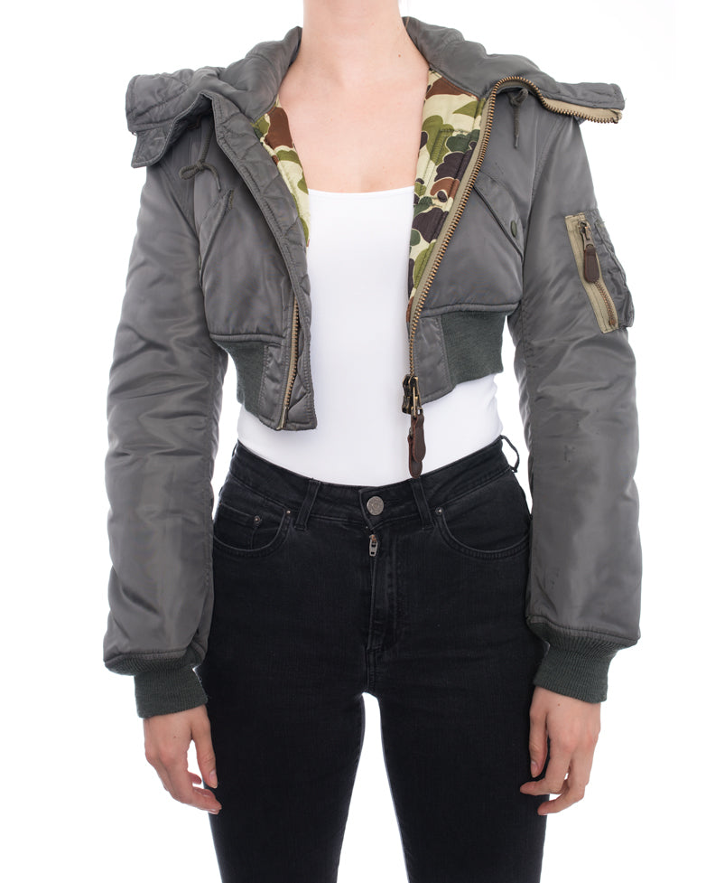 Junya Watanabe Fall 2010 Army Green Crop Bomber Jacket - XS