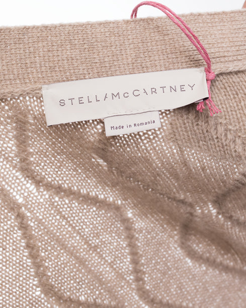 Stella McCartney Beige Cashmere Cable Knit Cardigan Sweater - M